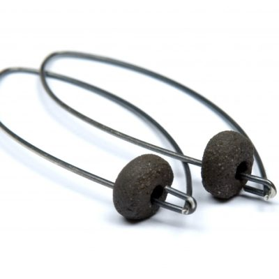 Oxidised silver loop earring with handmade stoneware pebble