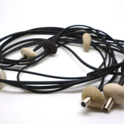 Rubber and ceramic wrap-around necklace